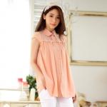 เสื้อชีฟองไซส์ใหญ่ สีชมพู ปกบัว ช่วงไหล่ผ้าลูกไม้ แขนสั้นในตัว (XL,2XL,3XL)