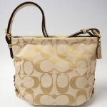 COACH 24CM SIGNATURE DUFFLE SHOULDER BAG # 15067 สี Light Khaki /Gold