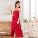 ชุดเดรสราตรียาวไซส์ใหญ่ ผ้าชีฟองเกาะอก กระโปรงไขว์ ซิปหลัง สีม่วงอ่อน/สีเขียว/สีแดง (XL,2XL,3XL)