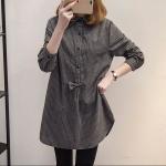 เสื้อยาวผ้าฝ้ายลายเนื้อหนา แขนยาว สีเทา/สีกรมท่า (XL,2XL,3XL,4XL,5XL)