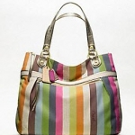 Coach new poppy legacy stripe glam tote # 19021สี BRASS / MULTICOLOR