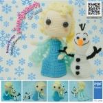 แพทเทิร์นตุ๊กตาถักเอลซ่า โอลาฟ (Amigurumi Elsa & Olaf Pattern)