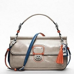 COACH New Leather Colorblock City Willis #19035  SILVER/GREY/TANGELO