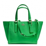 COACH Crossgrain Leather Mini Crosby Carryall # 33996 สี Green