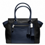 Coach Legacy Colorblock Leather Candace Medium Carryall # 19909  Black Navy Multi