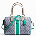 Coach Signature Stripe Pvc Stripe Satchel # 24362 สี Silver/Naby Blue / Bright Jade