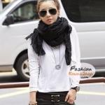 ผ้าพันคอแฟชั่นเกาหลีสีพื้น Hot Basic : สีดำ CK0149
