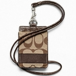 Coach Signature Stripe Lanyard ID Case # 61766 สี  Khaki Mahogany