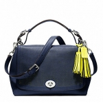 COACH LEGACY PERFORATED LEATHER ROMY TOP HANDLE # 22386  SV / NAVY / BRIGHT CITRINE