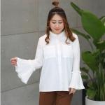 เสื้อเชิ้ตชีฟองสีขาวสไตล์หวาน ๆ ปลายแขนกระดิ่ง (XL,2XL,3XL,4XL)