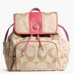 COACH SIGNATURE STRIPE BACKPACK # 21928 สี LIGHT KHAKI/CORAL
