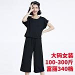 ชุดเซ็ท 2 ชิ้น เสื้อยืด+กางเกงขาสามส่วน สีดำ/สีเทา (XL,2XL,3XL,4XL)
