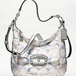COACH KRISTIN EMBELLISHED SIGNATURE HOBO #19340 SILVER / BLUE GRAY MULTI