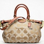  Coach MADISON OP ART METALLIC OUTLINE SOPHIA SATCHEL #18650 Light Khaki/Terracotta