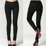 กางเกงยีนส์ยืด สีดำ ผ้ากำมะหยี่ ขายาว (XL,2XL)