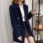 ++พร้อมส่ง++ เสื้อแจ็คเก็ตไซส์ใหญ่ทำจากผ้าขนสัตว์ สีน้ำเงิน (XL)