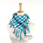 ผ้าพันคอชีมัค Shemash (เนื้อผ้า Cotton) : สีฟ้าขาว CV0004