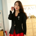 เสื้อคลุมแจ็คเก็ตสั้นไซส์ใหญ่ สีดำ แขนยาว เข็มกลัดถอดออกได้ (XL,2XL,3XL)