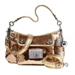 Coach Limited Edition Sequin Groovy Convertiable Shoulder Bag # 15381 สี Silver/Gold