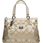 COACH POPPY SIGNATURE SATEEN GLAM TOTE PURSE BAG HANDBAG # 18351 LIGHT KHAKI/ GOLD