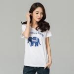เสื้อยืดผ้าฝ้ายพิมพ์ลายกลางอกไซส์ใหญ่แฟชั่นเกาหลี สีขาว (XL,2XL,3XL,4XL,5XL)