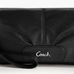 Coach Leather Large Flap Wristlet # 45981 สี Black