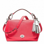 COACH LEGACY PERFORATED LEATHER ROMY TOP HANDLE # 22386  SV / WATERMELON / SNOW