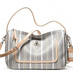 COACH LEGACY WEEKEND TICKING STRIPE CROSSBODY # 23468 สี White/Black/ Multicolor