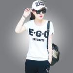 ชุดกีฬาไซส์ใหญ่ เสื้อยืดแขนสั้น+กางเกงสามส่วน สีขาว (4XL,5XL,6XL)