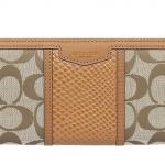 Coach Signature Leather Zip-Around Wallet # 51698 สี Khaki/Saddle