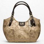 Coach Madison Op Art Sateen Abigail Shoulder Bag # 18648 สี Khaki Mahogany