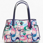 Coach Signature Stripe Ikat Print Carryall Bag Tote # 24453 สี Multicolor