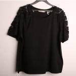 เสื้อยืดไซส์ใหญ่ แขนลูกไม้ฉลุสวย สีดำ (XL,2XL,3XL,4XL)