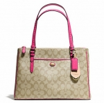 Coach Peyton Signature Double Zip Carryall Handbag # 24603