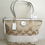 COACH SIGNATURE STRIPE TOTE # 18356 สี Khaki white