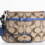 COACH Signature Bow Small Wristlet # 48809  Midnight Blue