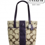 Coach Signature Stripe Tote # 25771 สี KHAKI /PURPLE