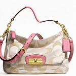 COACH KRISTIN SIGNATURE EAST-WEST CROSSBODY # 22302 สี LIGHT KHAKI/ROSE PINK