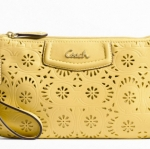 Coach ashley lace leather large wristlet #  48807 สี brass yellow