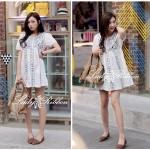 4HH32/538 Korea Vintage Leaf Mini dress มินิเดรสปักลายใบไม้ ลุควินเทลเก๋ๆ ทรงใส่ง่าย ชิลๆน่ารักมากค่าาา