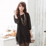 เสื้อชีฟองบางตัวยาว สีดำ (XL,2XL,3XL)