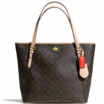 COACH PEYTON SIGNATURE ZIP TOP TOTE # 28365