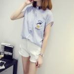 เสื้อผ้าฝ้าย สีขาว/สีฟ้า (XL,2XL,3XL,4XL,5XL)