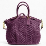 Coach madison quilted chevron nylon large lindsey # 18634 Plum