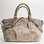 COACH Madison Dotted Op Art Sophia Satchel # 15935 Khakhi