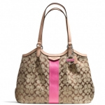 COACH SIGNATURE STRIPE 12CM DEVIN SHOULDER BAG # 28503 สี SILVER/KHAKI/PINK