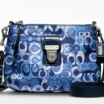 Coach Poppy Denim Print Signature Swingpack Crossbody # 47921 Blue Multi