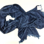 COACH Scarf Shawl GRAFFITI PATCH Wool Silk # 82829  Blue