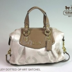 COACH ASHLEY DOTTED OP ART SATCHEL # 20027 สี KHAKI/TAUPE