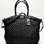 COACH New madison quilted chevron nylon large lindsey # 18634 Black